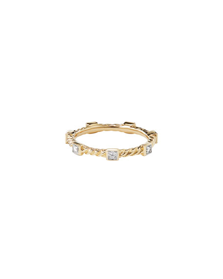 David Yurman Cable Collectibles 18K Diamond Stacking Ring, Size 9