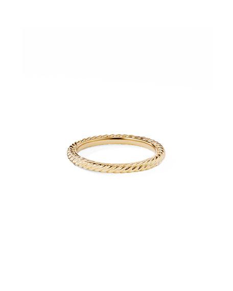 David Yurman 2mm Cabled Stackable 18k Midnight Melange Ring, Size 6