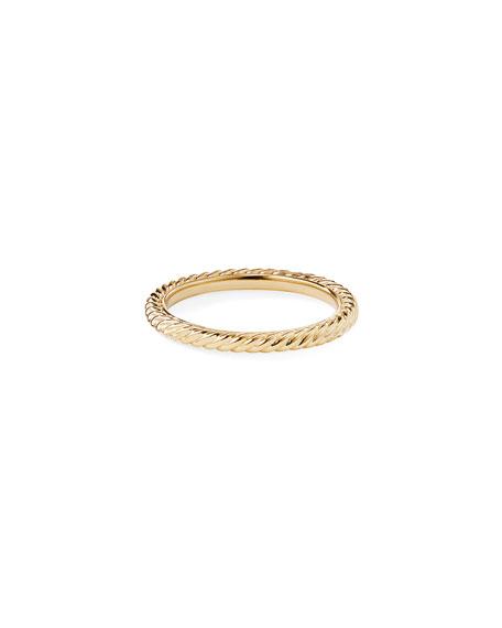 David Yurman 2mm Cabled Stackable 18k Midnight Melange Ring, Size 5