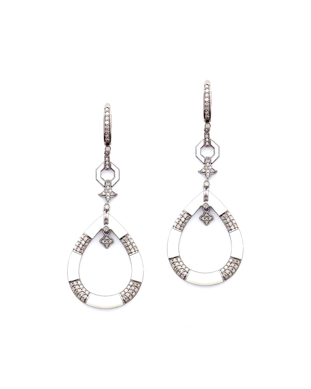 Rania White Enamel Pave Diamond Earrings
