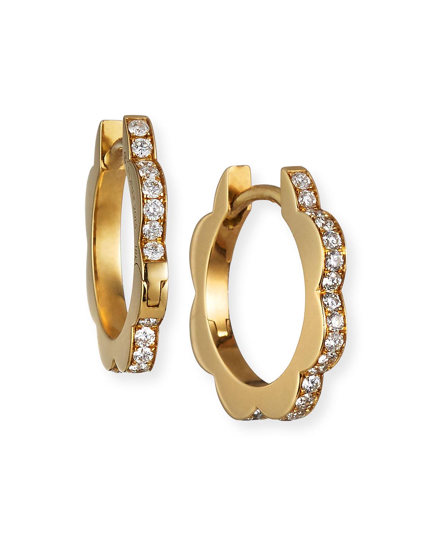 18k Yellow Gold Small Diamond Triplet Hoop Earrings