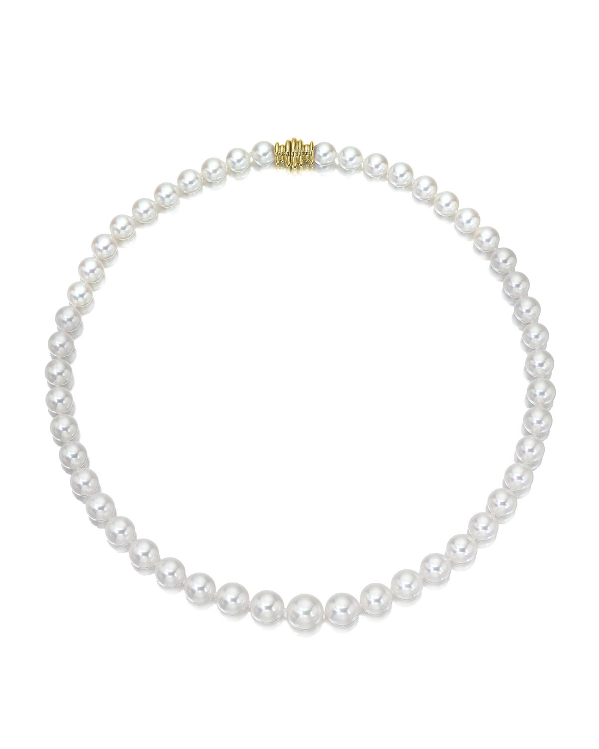 """26"""" Akoya Cultured 8mm Pearl Necklace with Yellow Gold Clasp"""