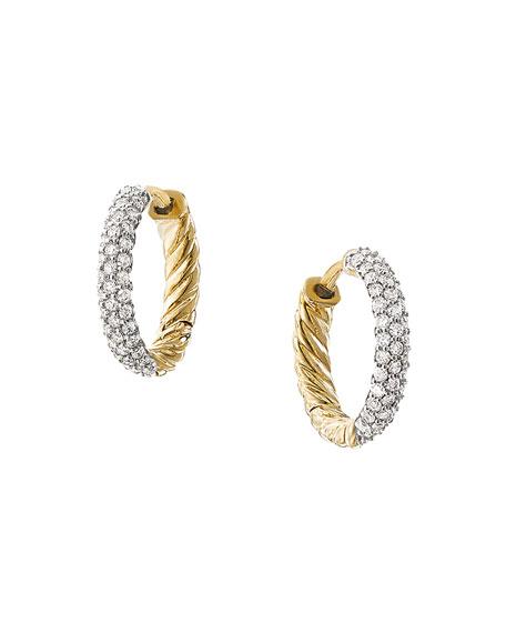David Yurman Petite 18k Gold Huggie Earrings with Diamonds