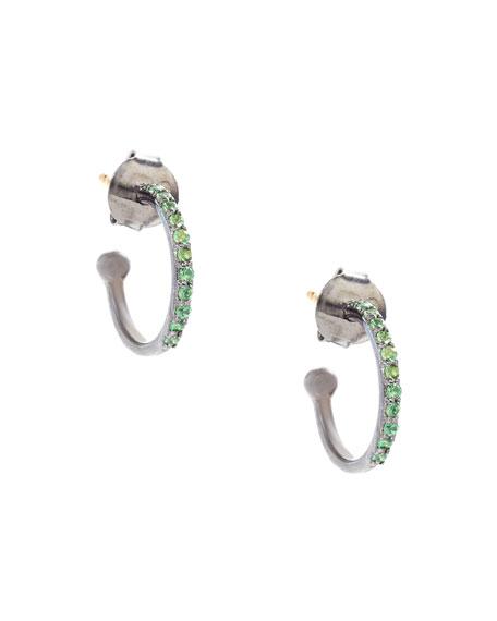 Kastel Jewelry 20mm Tsavorite Mini Hoop Earrings
