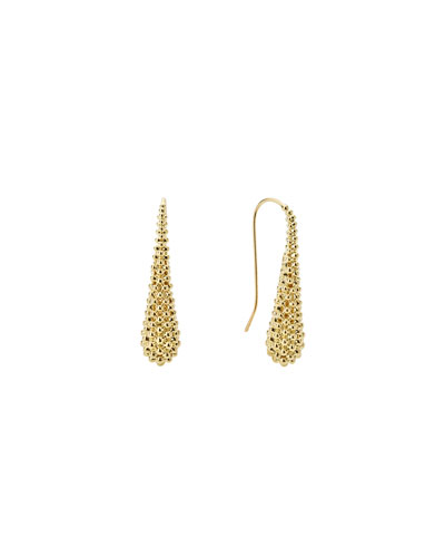 18K Gold Caviar Teardrop Earrings