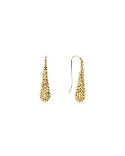 18K Gold Caviar Teardrop Earrings