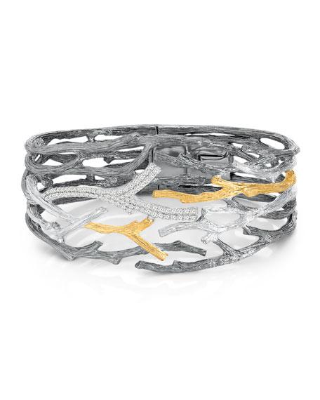 Michael Aram Enchanted Forest Twig Crossover Diamond Cuffs