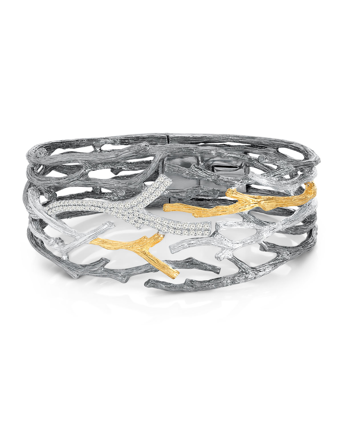 Enchanted Forest Twig Crossover Diamond Cuffs