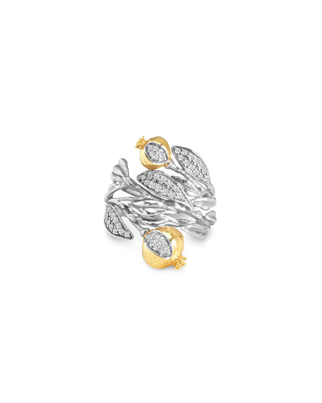 Pomegranate 18k Gold & Diamond Cuff Ring