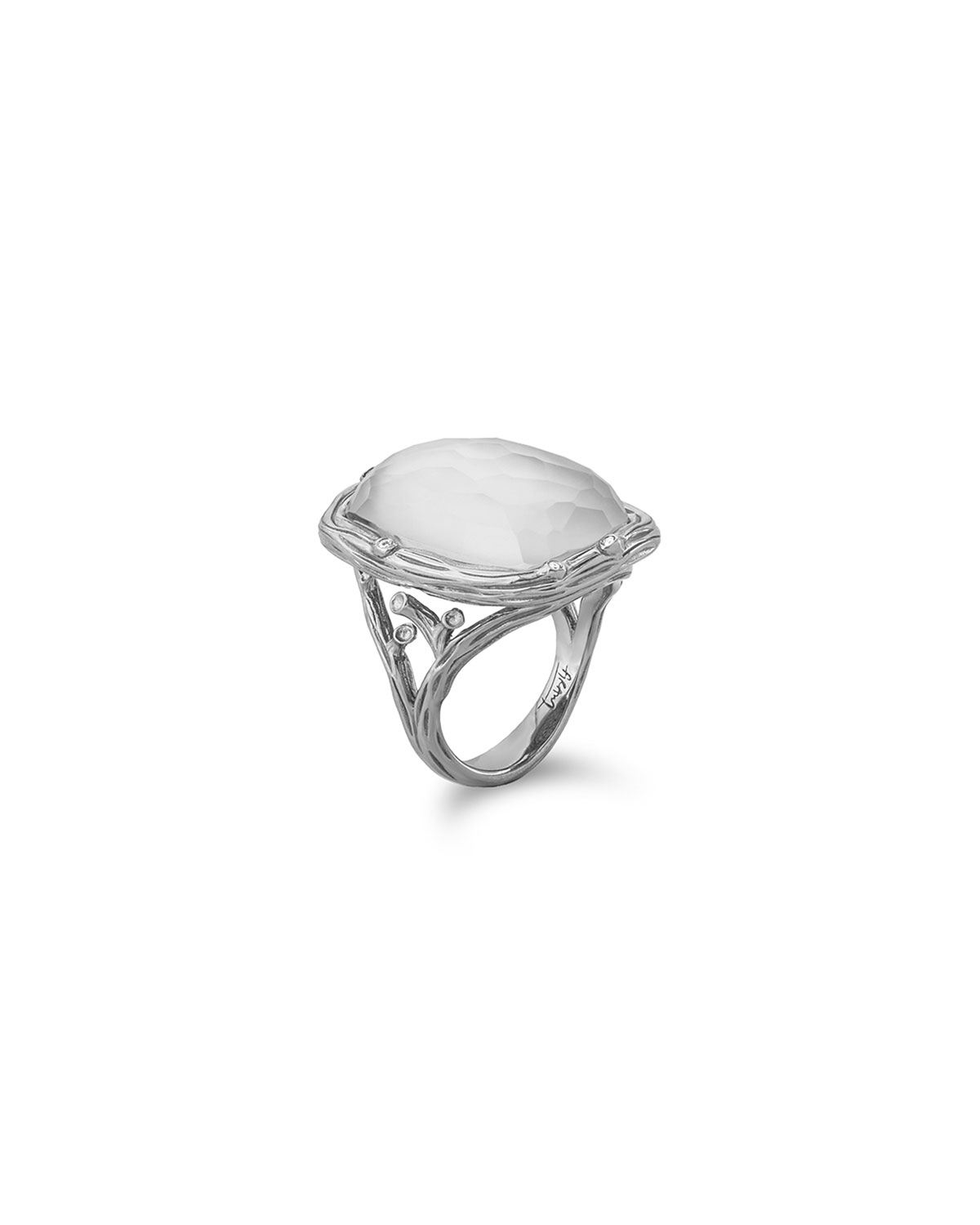 Enchanted Forest Ring with Mother-of-Pearl Doublet and Diamonds