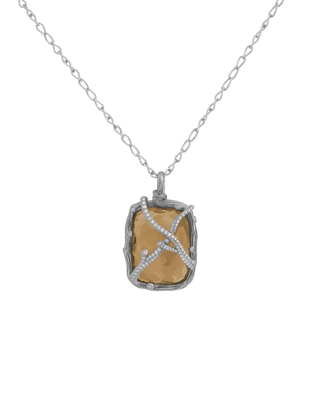 Golden Doublet Diamond Twig Pendant Necklace