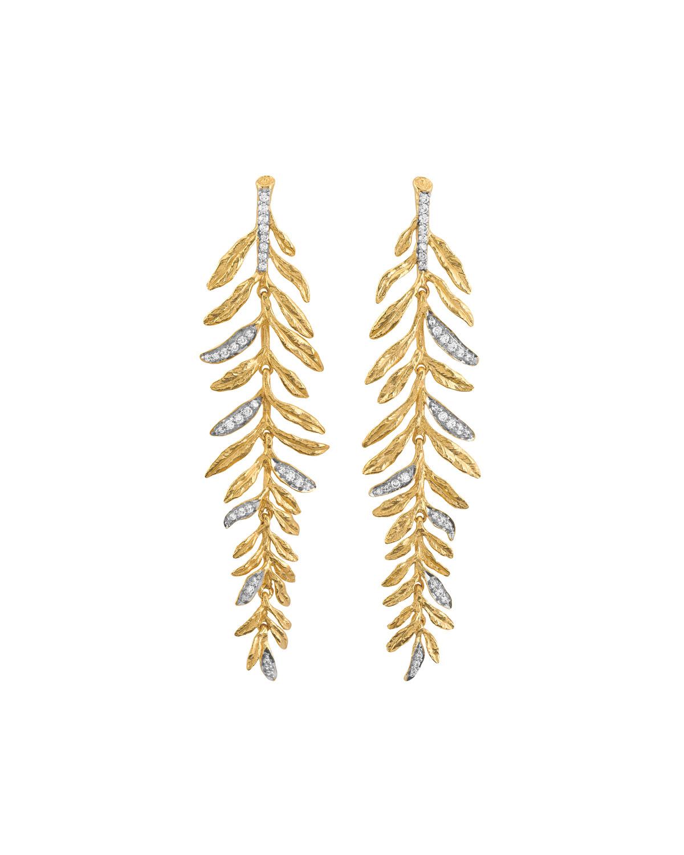Laurel Diamond Leaf Chandelier Earrings