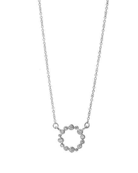 Syna 18k White Gold Champagne Diamond Bubbles Circle Necklace