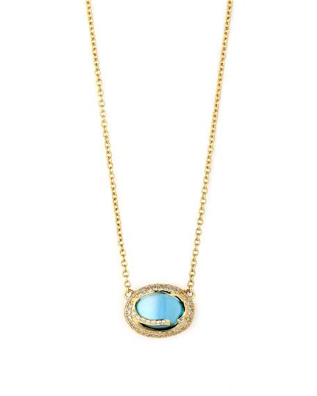 Syna 18k Blue Topaz Cobblestone Pendant Necklace with Diamonds