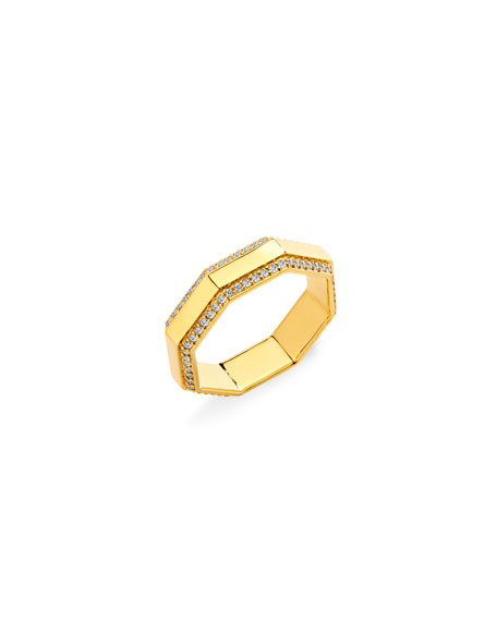 Syna 18k Yellow Gold Octagon Ring with Champagne Diamonds, Size 6.5