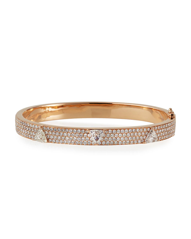 18k Rose Gold Diamond Pave 3-Trillion Oval Bangle