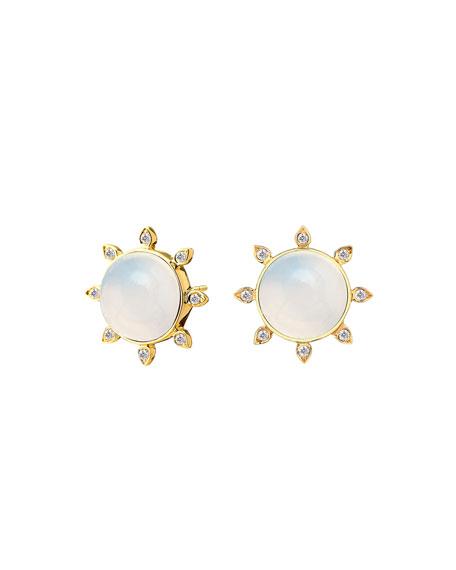 Syna 18k Moon Quartz Stud Earrings with Diamonds