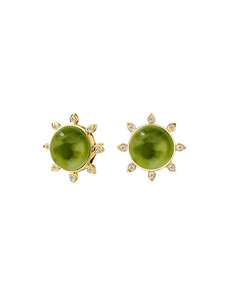 Syna 18k Peridot and Diamond Stud Earrings
