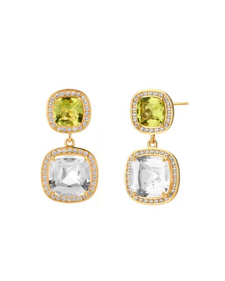 Syna 18k Multi-Stone Cushion-Drop Earrings with Diamonds