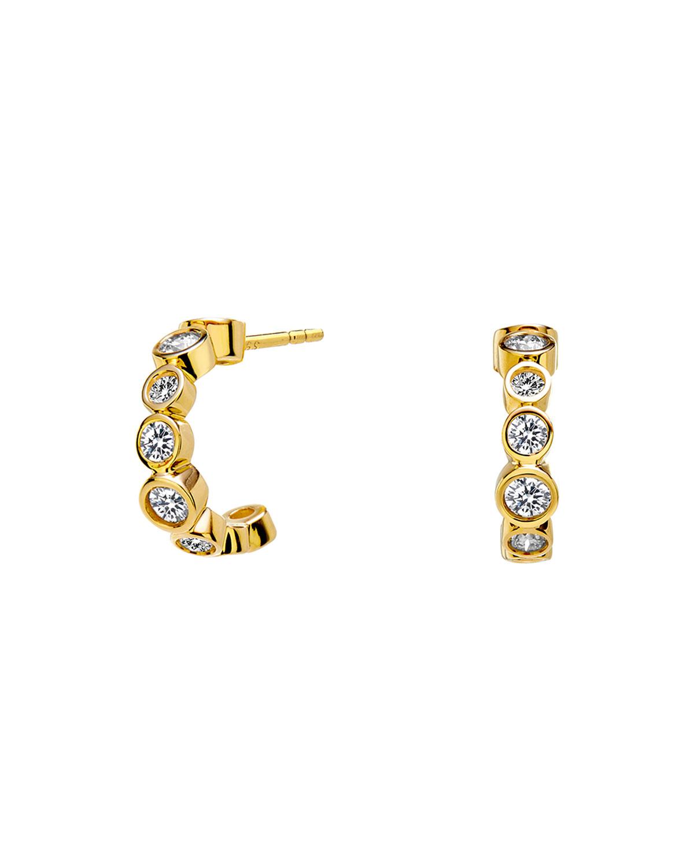 18k Yellow Gold Diamond Mini Hoop Earrings