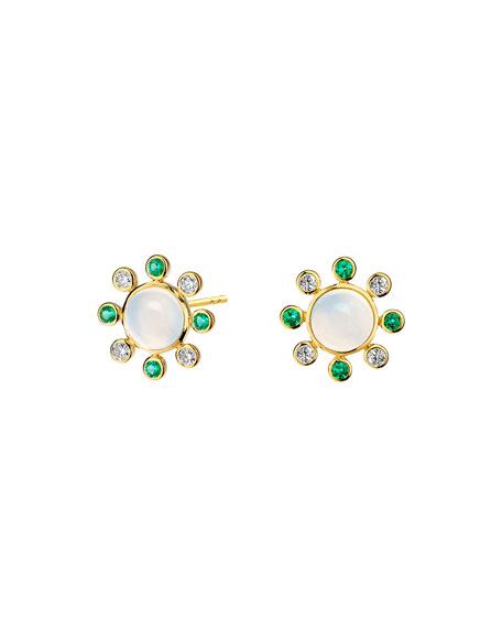 Syna 18k Moon Quartz Earrings with Emeralds and Diamonds