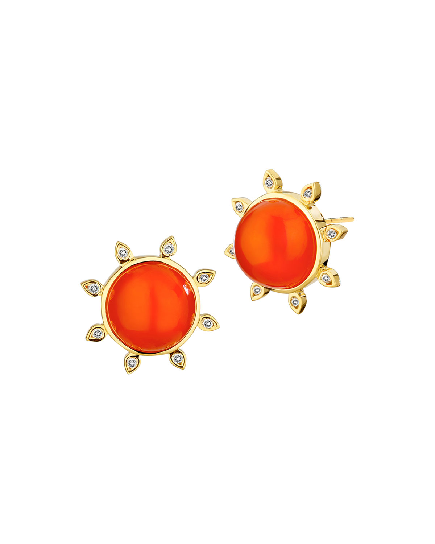 18k Orange Chalcedony and Diamond Earrings