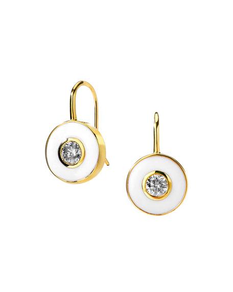 Syna 18k White Enamel and Diamond Drop Earrings