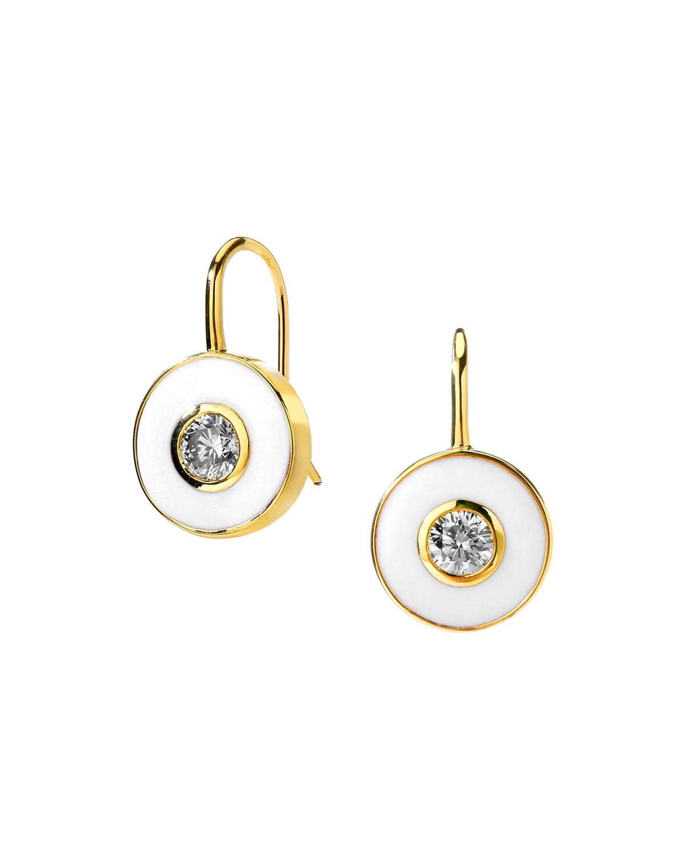 18k White Enamel and Diamond Drop Earrings