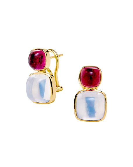 Syna 18k Sugarloaf Earrings with Rubellite and Moon Quartz