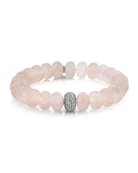 Sheryl Lowe Rose Quartz Diamond 1-Donut Bead Bracelet