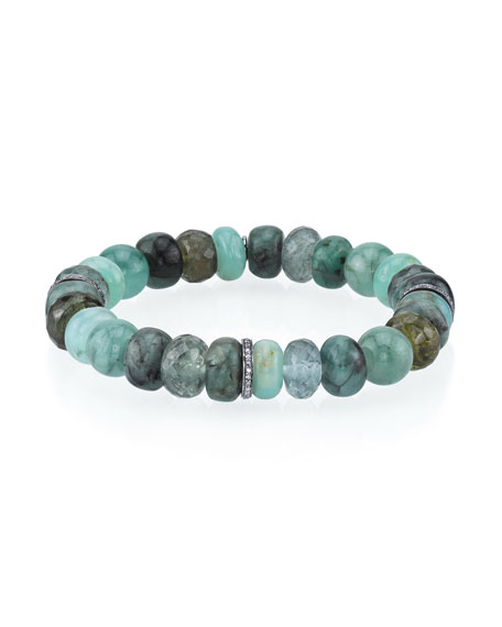 Sheryl Lowe 10mm Green Mix Bead Bracelet with 3 Diamond Rondelles