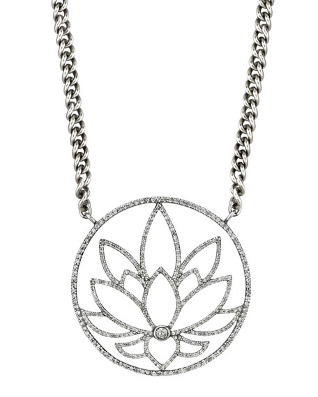Sheryl Lowe Diamond Lotus Pendant Necklace