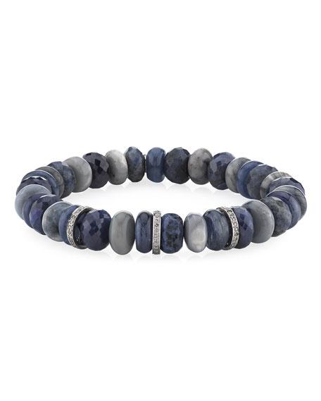 Sheryl Lowe 10mm Multi-Stone & 3-Diamond Rondelle Bracelet