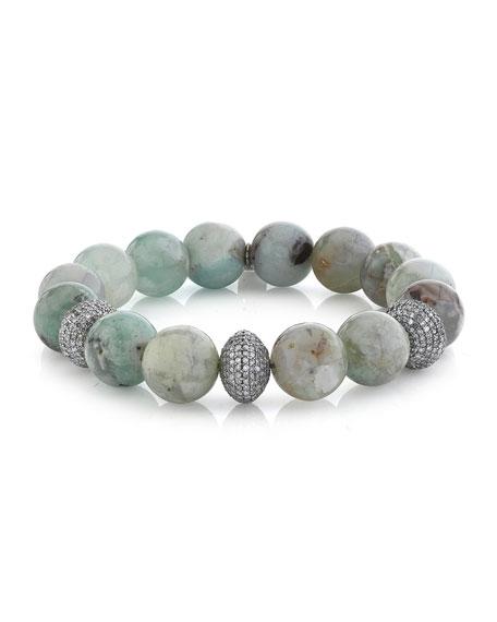 Sheryl Lowe 12mm Aquaprase Diamond 3-Bead Bracelet