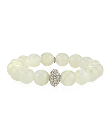 Sheryl Lowe 12mm Moonstone & Diamond Donut Bracelet