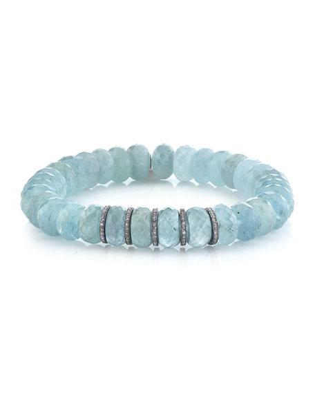 Sheryl Lowe 10mm Aquamarine Diamond 5-Rondelle Bracelet