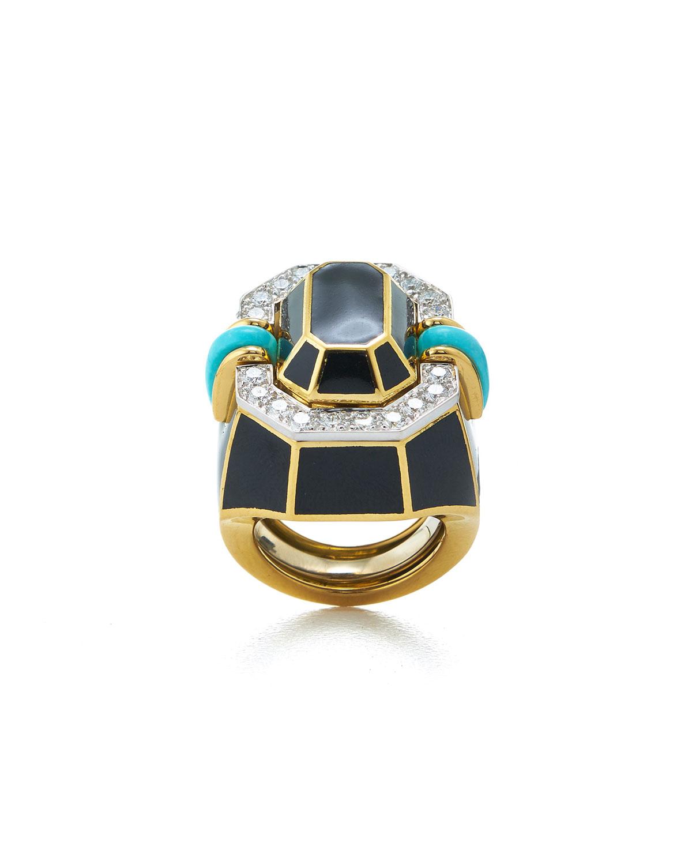 Facet Turquoise and Diamond Black Enamel Ring