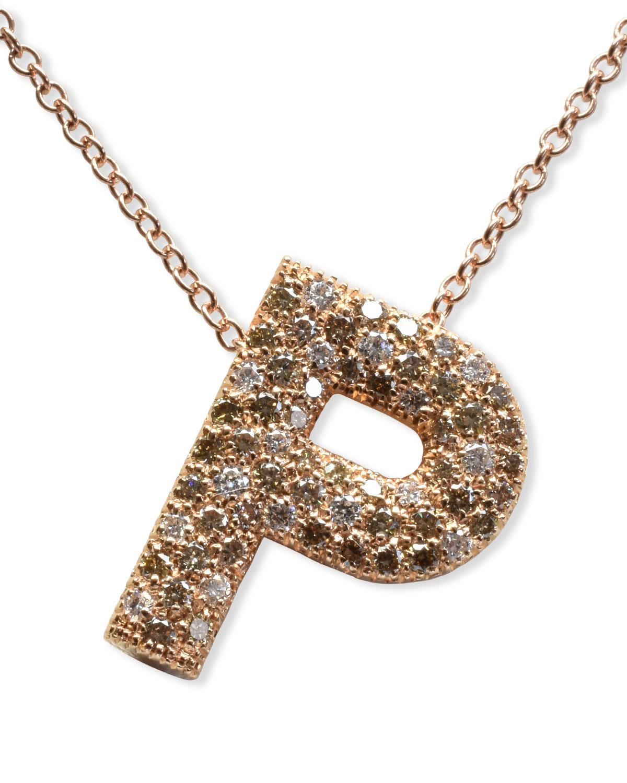 "Via Mantegna 18k Rose Gold Diamond Letter ""P"" Pendant Necklace"