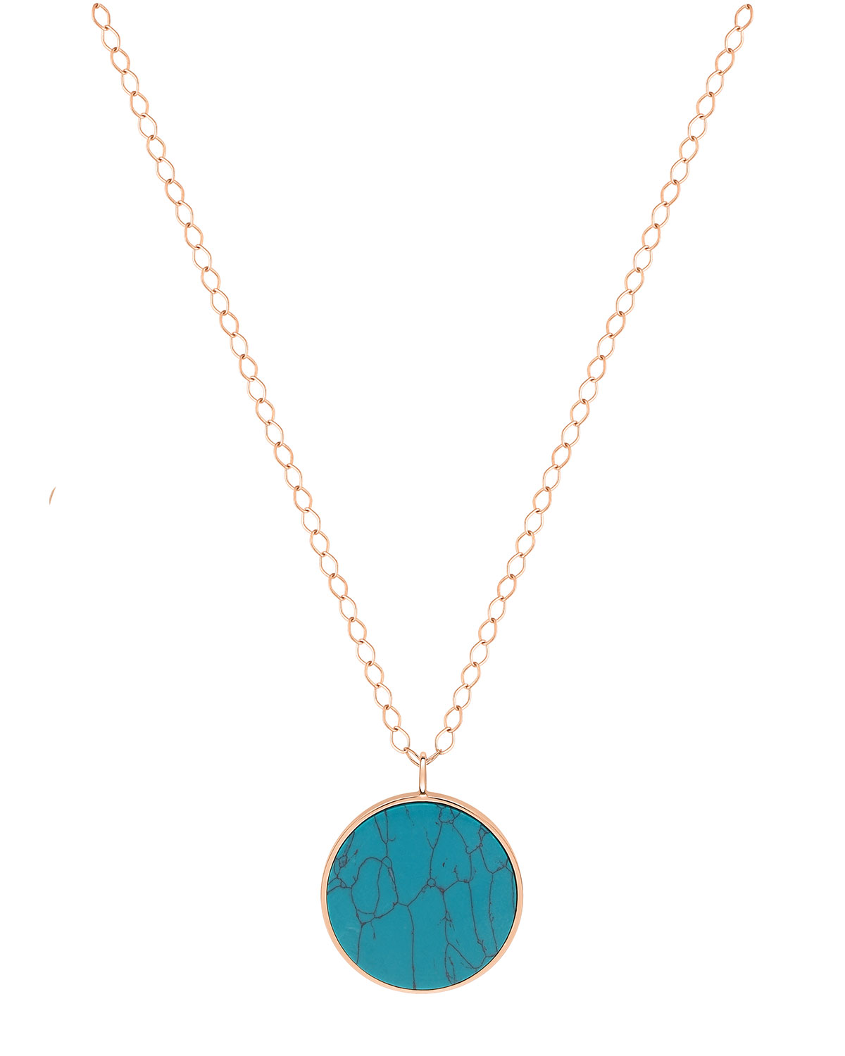 Jumbo Turquoise Disc on Chain Necklace