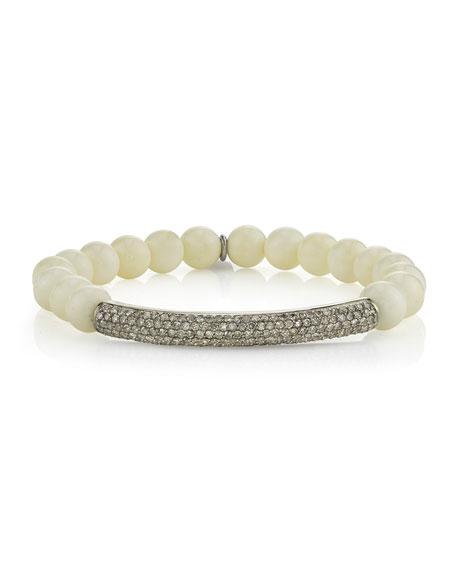 Sheryl Lowe 8mm Bone Beaded Bracelet with Diamonds