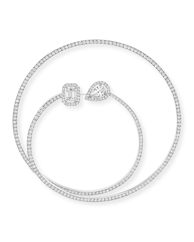 18k White Gold Pave Diamond Hoop Earring