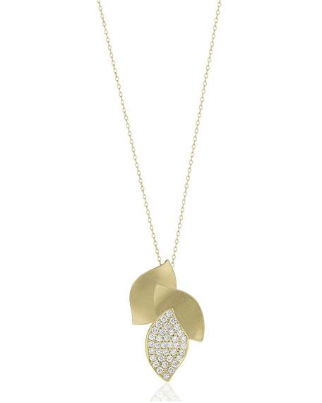 Carelle Lotus Diamond Pave 3-Leaf Pendant Necklace