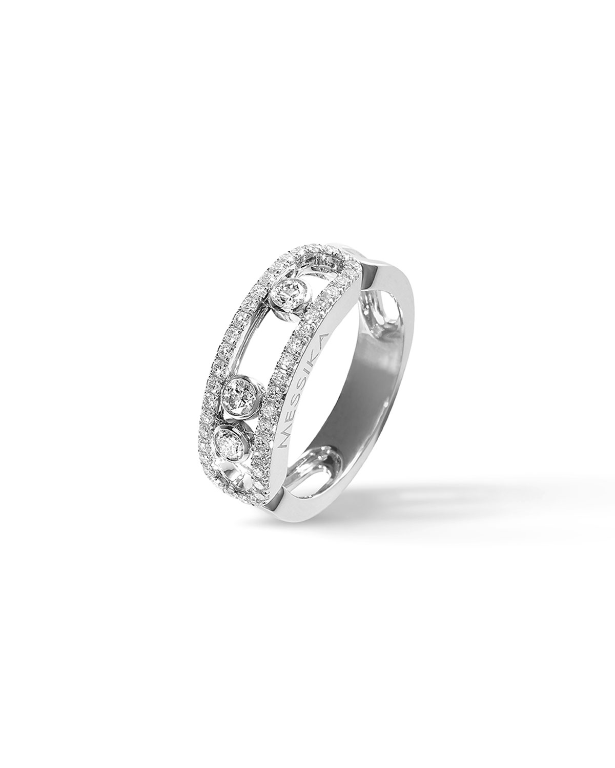 Move Diamond Band Ring in 18k White Gold