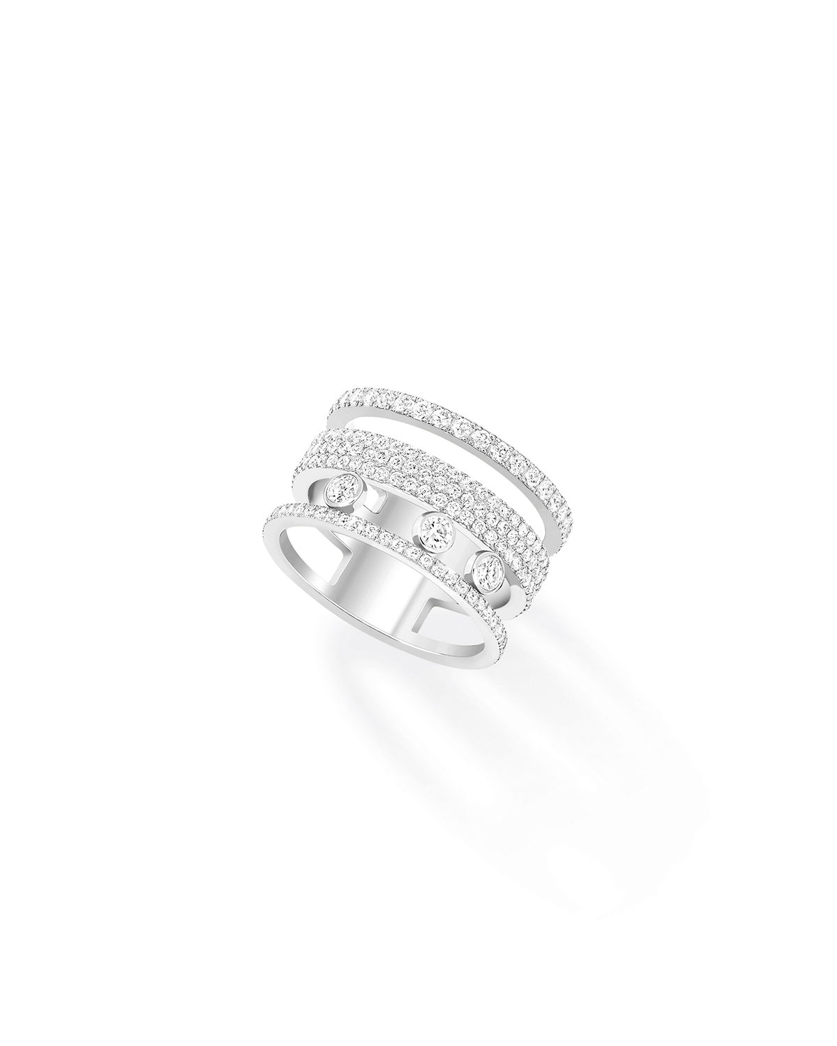 Move Romane Large Pave and 3-Diamond Ring in 18k White Gold