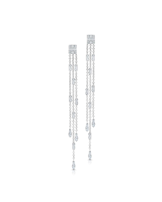 19k White Gold Ascension Fringe Diamond Earrings