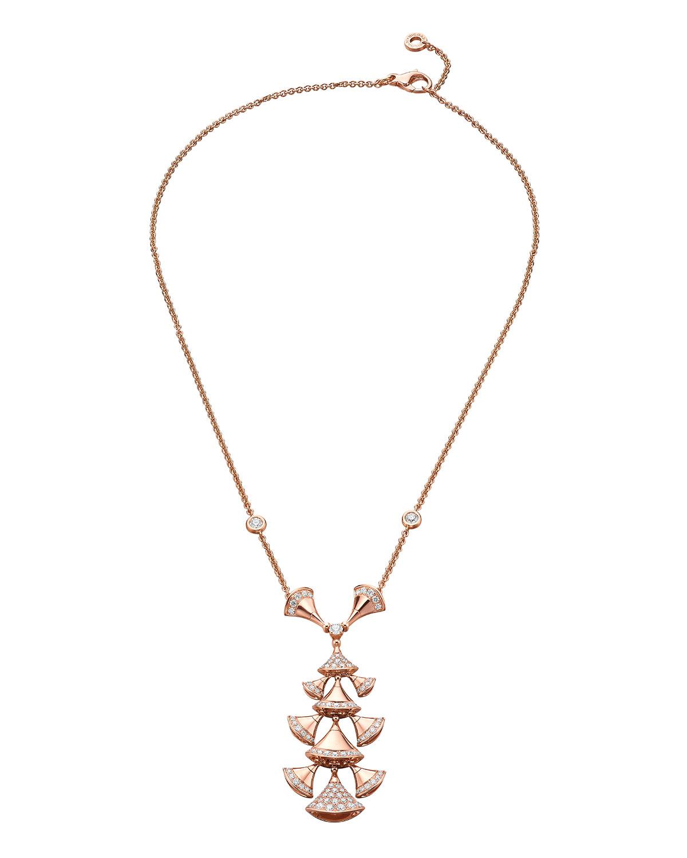 Divas' Dream Tiered Diamond Pendant Necklace in 18k Rose Gold