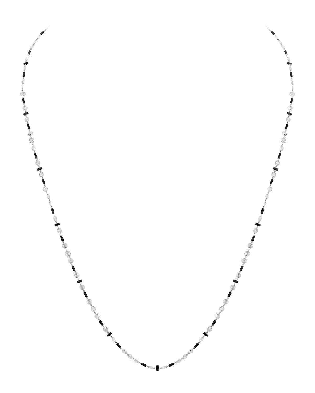 18k White Gold Diamond and Black Onyx Necklace