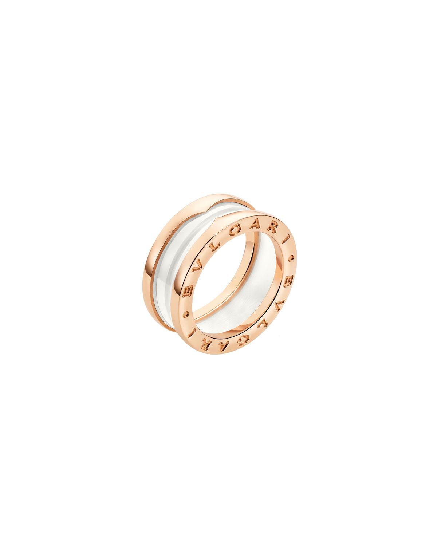 B.Zero1 18k Rose Gold 2-Band Ring with White Ceramic