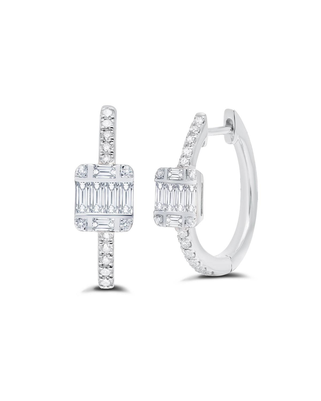 18k White Gold Diamond Huggy Earrings