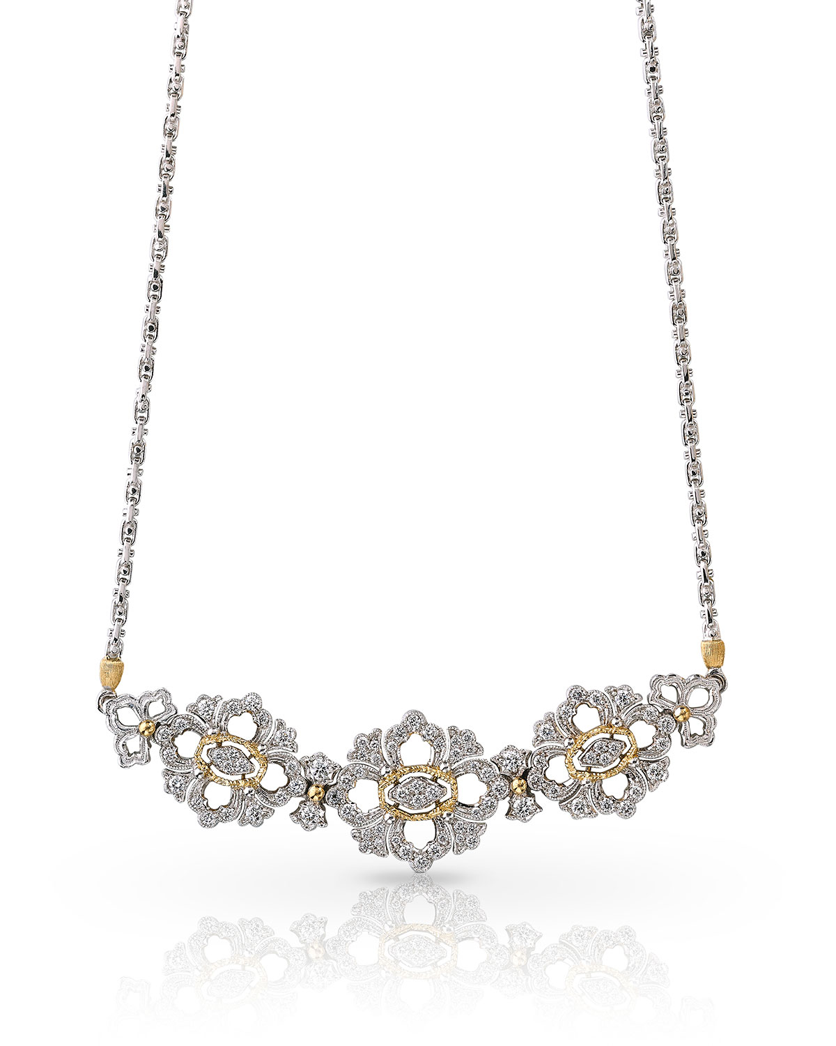 Two-Tone Gold Opera Full Diamond Pave Necklace
